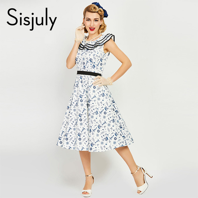 Sisjuly women 1950s vintage dress pin up print white patchwork dress elegant cute wrinkle sailor collar vintage 2017 dresses