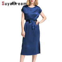 Women Silk Dress Solid Casual Dresses 19MM MULBERRY SILK Satin Belted Mid Calf Length Classic Simple