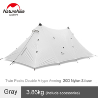 Naturehike 10 Person Twin Peaks 20D Silicone Double A type Tower Awning Outdoor Rainproof Sun shade Awning Tent Camping Pergola