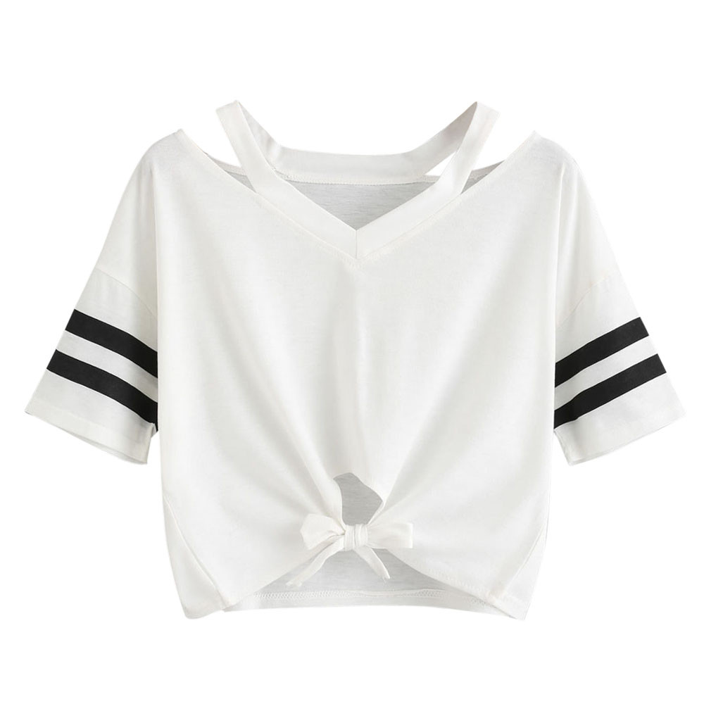 Dotfashion Striped Bow And Ruffle Hem Mixed Media Tee 2019 White Lace Cotton Top Summer Short Sleeve Round Neck T-shirt High Quality And Low Overhead T-shirts
