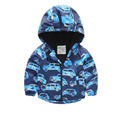 baby boy jackets and coats 2017 new autumn long sleeve kids jackets cartoon car printed kids outwear hooded windproof jackets