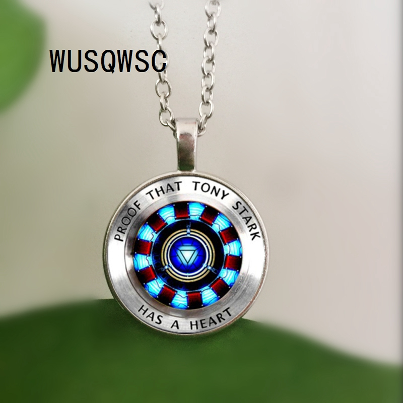 WUSQWSC Iron man, Tony Stark Tibet silver Glass dome Necklace chain Pendant Wholesale necklace