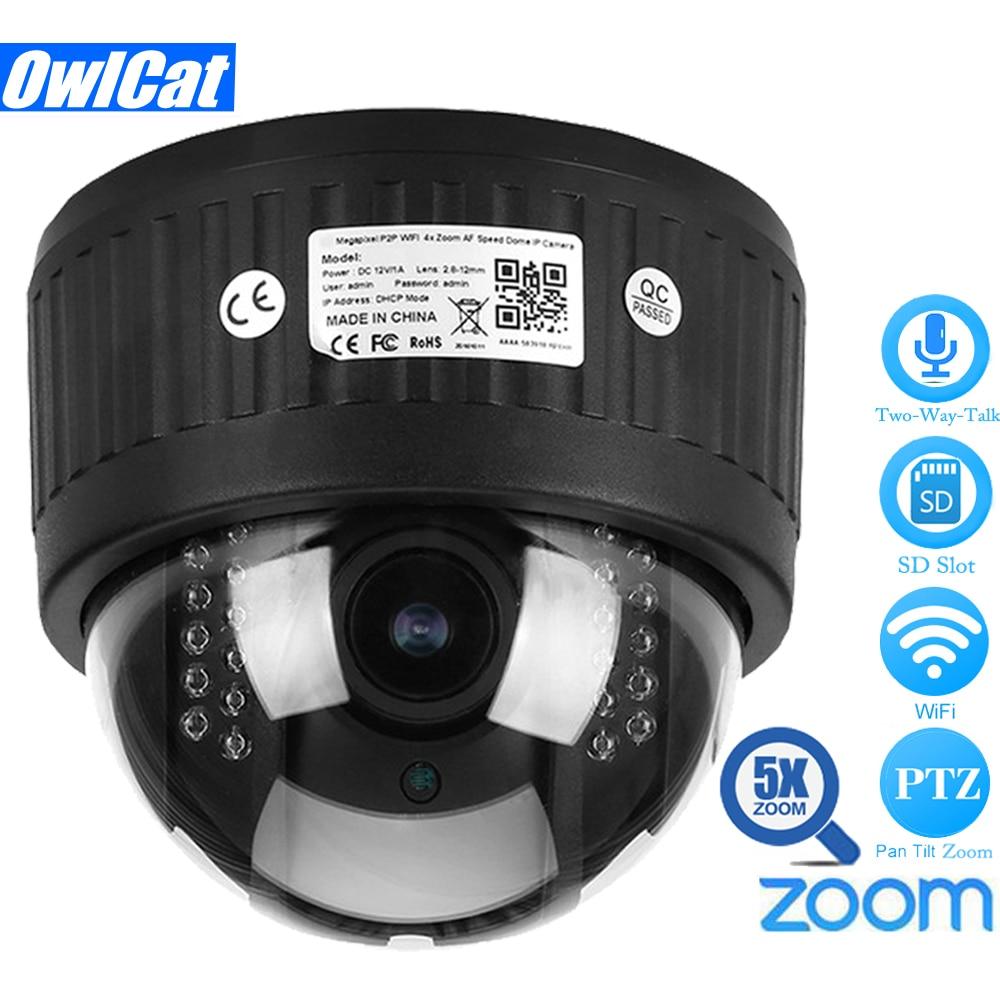 OwlCat HD 1080P 960P Indoor Wireless Speed Dome PTZ IP Camera Wifi 5X Zoom 2.7-13.5m Auto Focus Audio SD Card IR Night Onvif P2P wireless speed dome ptz ip camera wifi hd 1080p 960p auto focus 5x zoom 2 7 13 5mm indoor audio sd card ir night onvif p2p cloud