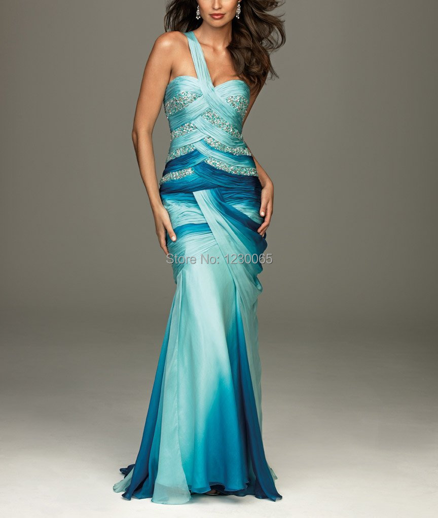 New 2015 free Shining hot sexy Chiffon party gown mermaid Fabric Heavy Beading and Pleat Handwork One Shoulder   Prom     Dress