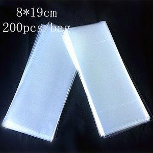 Image 1 - Bolsa plana transparente para hornear, empaque de helado, bolsa para comida/pastel/Pan, 8*19cm, 200 unids/bolsa