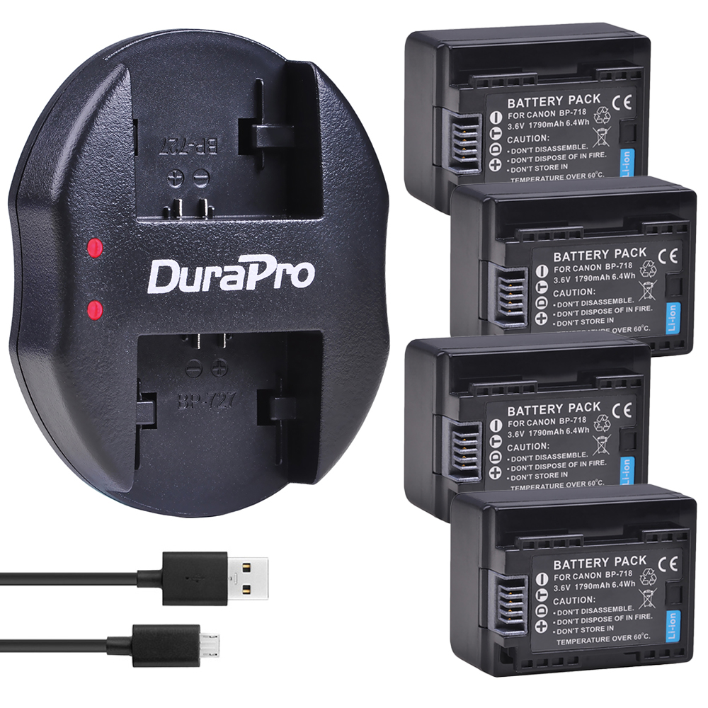 4 pc BP-718 BP 718 batterie de remplacement + chargeur USB pour Canon BP-709, BP-745, BP-727, CG-700, VIXIA HF M50, M51, M52, M560, R48, R406