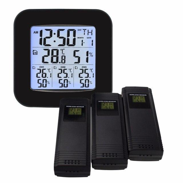 محطة الطقس ث/3 داخلي/خارجي لاسلكي مجسات ميزان الحرارة الرقمي الرطوبة أسود شاشة عرض ليد إل سي دي درجة الحرارة والرطوبة