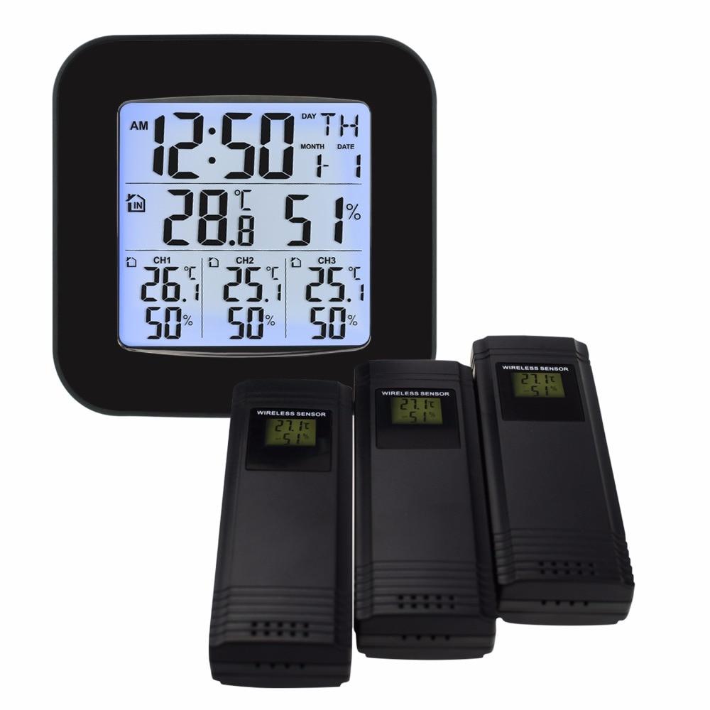 Wetter Station w/3 Indoor/Outdoor Wireless Sensoren Digitale Thermometer Hygrometer Schwarz LED LCD Display Temperatur & Feuchtigkeit