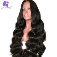 Луффи 180% Плотность предварительно сорвал 13*6 длинные пространство Синтетические волосы на кружеве Человеческие волосы Парики с ребенком волос перуанской non-реми волос для черных Для женщин