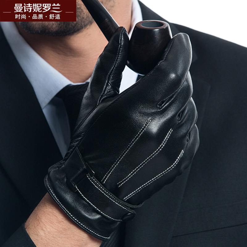 Winter Genuine Leather Gloves Men's Touch Sreen Leather Gloves Add Cashmere Or Silk Winter Keep Warm Sheepskin Gloves MLZ102