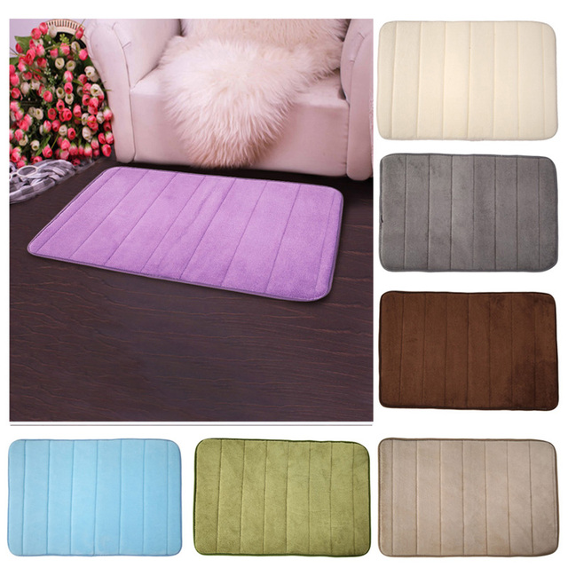 Bathroom Accessories 100 C Velvet Fabric Memory Foam Bath Mats Horizontal Stripes Rug Non