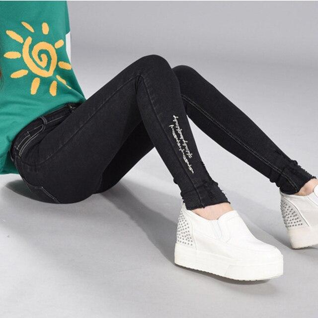 Женские джинсы Осень Джинсы женские большой размер сексуальная женщина черный высокой талией натяжные Тонкий стрейч джинсы вышивка мода XL 4XL