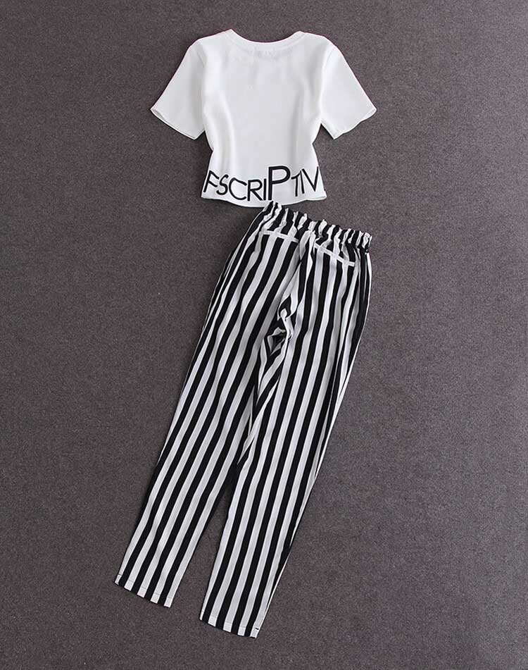 HTB1c56nxb9YBuNjy0Fgq6AxcXXac - 2pieces summer set women tracksuit outfit casual lovely printing cotton letter short t-shirt tops+striped harem pants sweatshirt