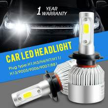 H1 Led H4 H7 Super Bright LED Car Headlight Lamp COB Chips H8 H9 H11 Fog Lights H3 H13 HB3 HB4 9007 H27 Bulbs 72W 6000K 8000Lm(China)