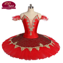Adult Red Ballet Tutu The Firebird Performance Stage Wear Women Ballet Dance Costumes For Competition Girls Ballet Skirt Apperal