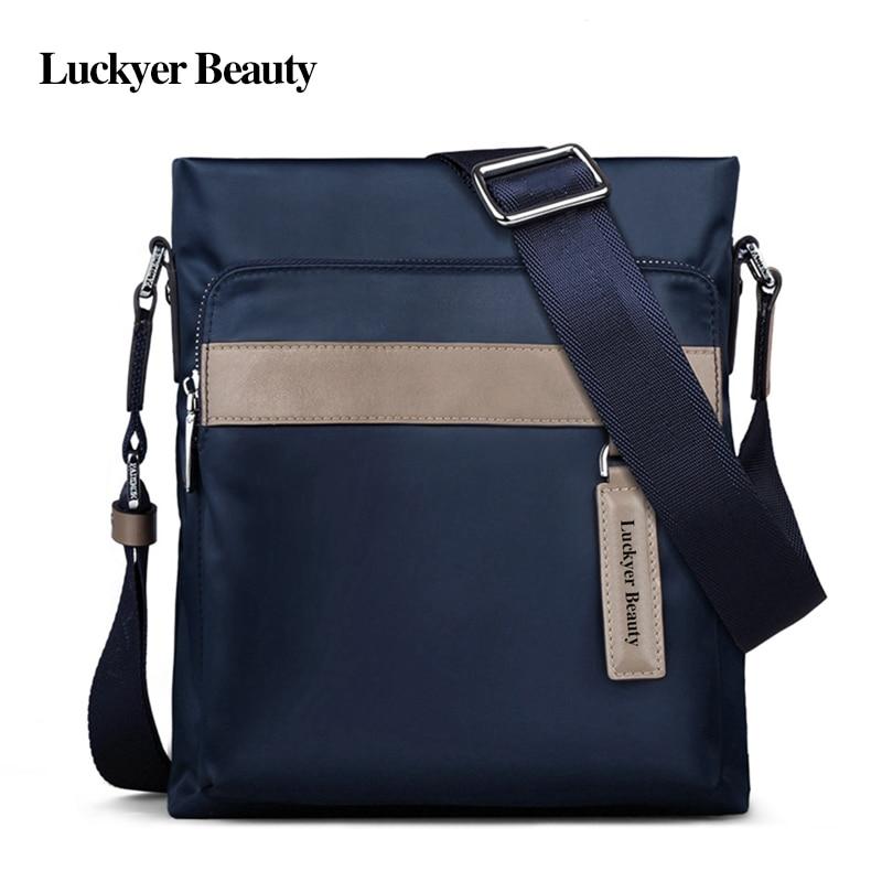ФОТО LUCKYER BEAUTY Brand Casual Men's Shoulder Bag Zipper Blue Messenger Bags Male Nylon Bolsas Crossbody Bags For Men High Quality
