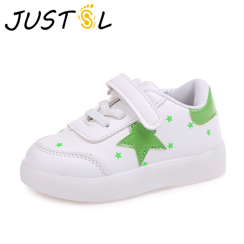 JUSTSL 2018 Spring Autumn Star light boys girls white LED shoes children s  casual shoes kids glowing fashion sneakers a6fece63666d