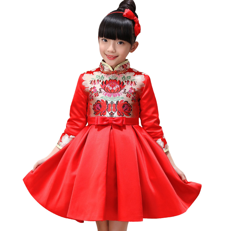 Chinese style 3-10 years girl child cheongsam Autumn princess dress red festivals 7 points sleeve embroidered cheongsam dress free shipping new red hot chinese style costume baby kid child girl cheongsam dress qipao ball gown princess girl veil dress