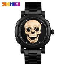 SKMEI Skullนาฬิกาผู้ชายนาฬิกาแบรนด์หรูนาฬิกาควอตซ์กีฬานาฬิกากันน้ำสแตนเลสชายWristatch Reloj Militarนาฬิกา 9178