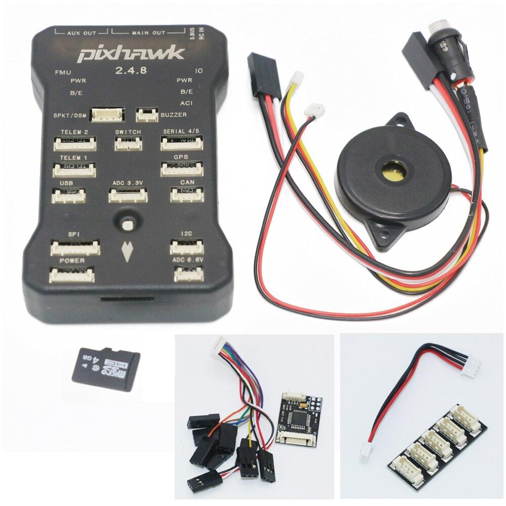 Pixhawk PX4 Autopilot PIX 2.4.8 32 Bit Controlador de Vôo com Interruptor de segurança e Buzzer 4G SD e Divisor de I2C Expandir módulo