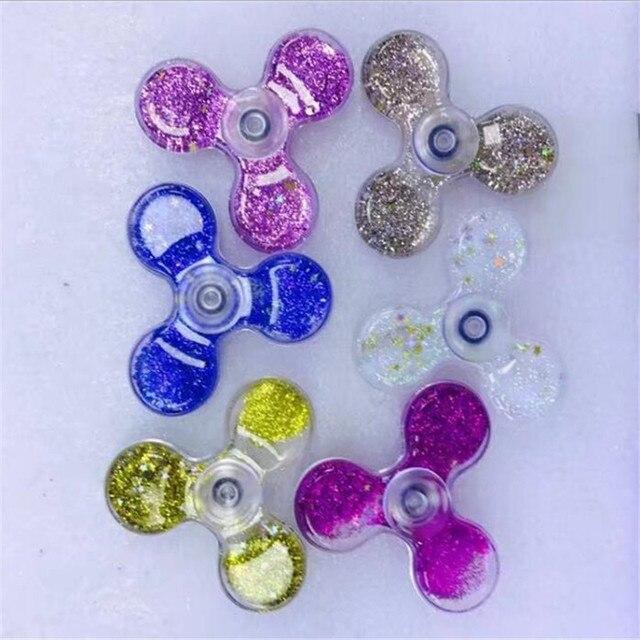La dernière trèfle cristal flux sable spinner gyro main spinner edc en plastique fidget spinner doigt spinner spiner anti stress jouets