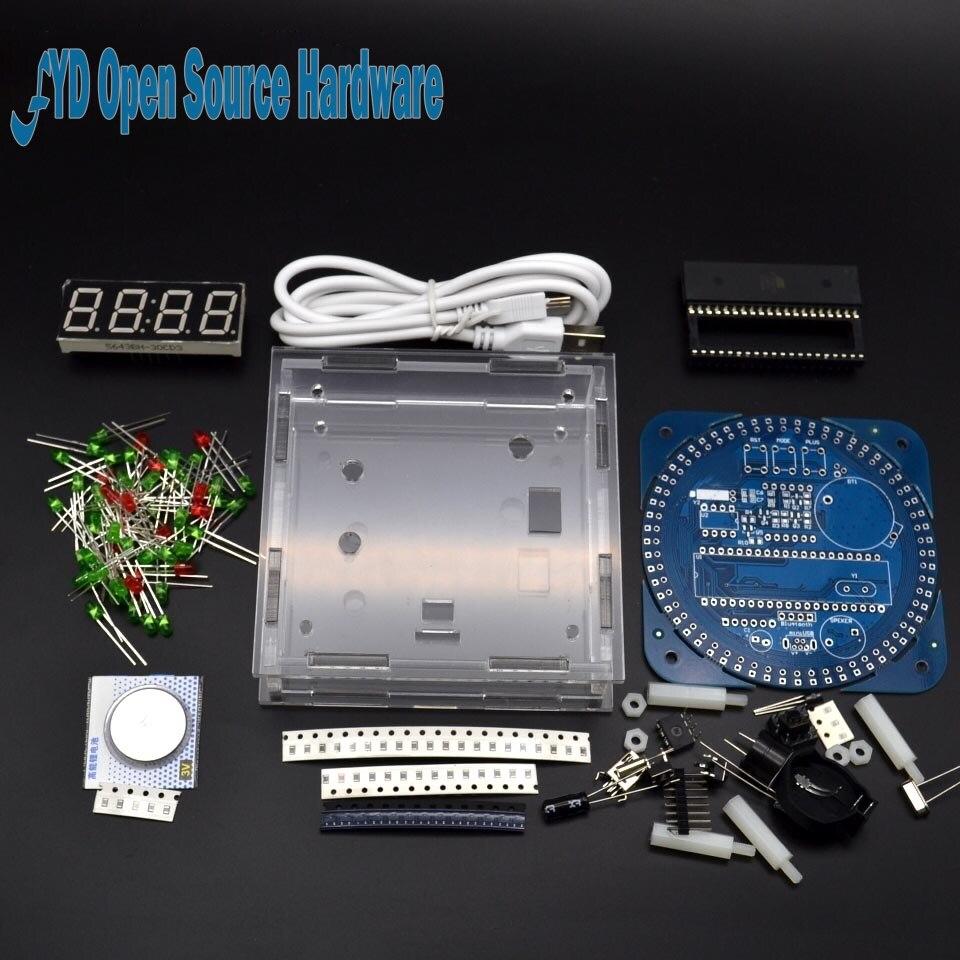 DS1302 Módulo de Display Digital LED de Alarme Relógio Digital LED Indicador de Temperatura Eletrônico DIY Kit Placa de Aprendizagem 5V com shell