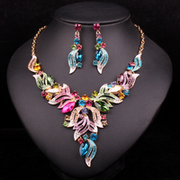 New Fashion Indian Rhinestone Bridal Jewelry Set Wedding Prom Party Accessories Gold Color Necklace Earring Set