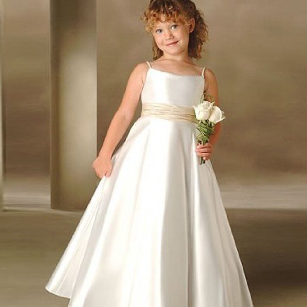 ФОТО Elegant Ankle-Length Ball Gown Plus Size White Corset Spaghetti Straps Ruched Little Girl Dresses for Wedding With Sash