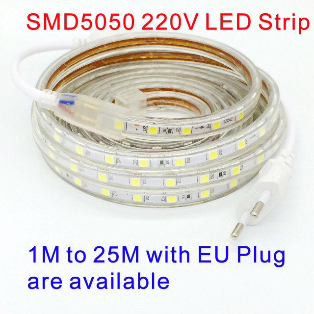 Aliexpress buy waterproof smd 5050 led tape ac 220v flexible waterproof smd 5050 led tape ac 220v flexible led strip light 60 ledsmeter outdoor sciox Gallery
