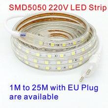 Waterproof SMD 5050 led tape AC 220V flexible led strip light 60 leds/Meter outdoor garden lighting with EU plug 220 V
