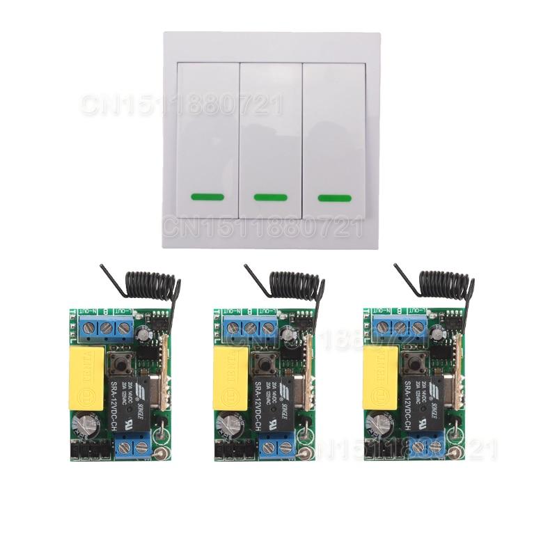 AC 220 V 3CH Canal Télécommande Commutateur Panneau Mural Mur émetteur À Distance La Maison Chambre Escalier Lumière Lampe Ampoule LED RX TX