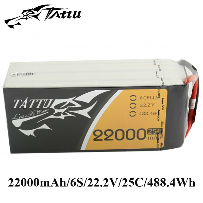 цены TATTU Lipo Battery 22.2V 22000mAh Lipo 6S 25C RC Battery with AS150 XT150 Plug Batteries for Quadcopter Drones Helicopter
