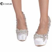 LOUCHUNLAN Women Pumps Shoes wedding shoes Beautiful white crystal Shoes bride shoes high heel waterproof table satin