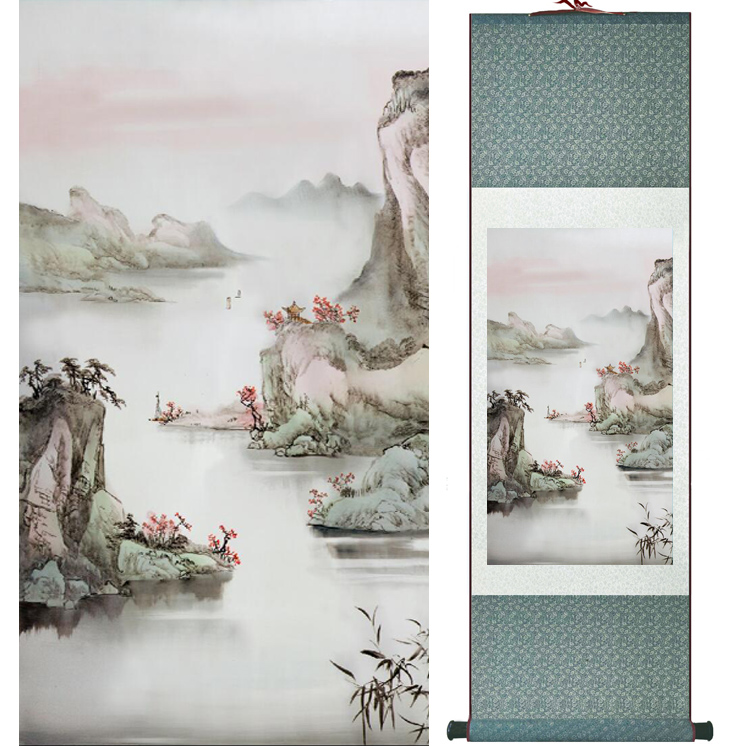 landscape painting Home Office Decoration Chinese scroll painting mountain and River paintingPrinted painting042210