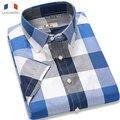 Langmeng 2016 марка 100% хлопок плед мужчины рубашка повседневная мужская лето мужской с коротким рукавом slim fit рубашки мужчины camisa masculina