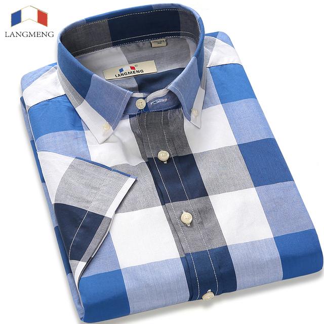 Langmeng 2016 marca 100% algodão xadrez camisa ocasional dos homens dos homens verão masculino camisa de manga curta slim fit camisa de vestido dos homens masculina