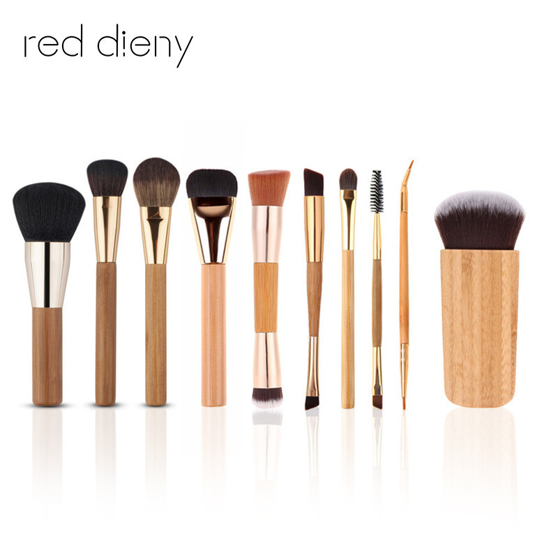 цена на 10PCS/set Pro Makeup Brush Kits Bamboo Aluminum Handle Top Quality Lips Eye Blush Contour Brushing Brush Cosmetic Tools