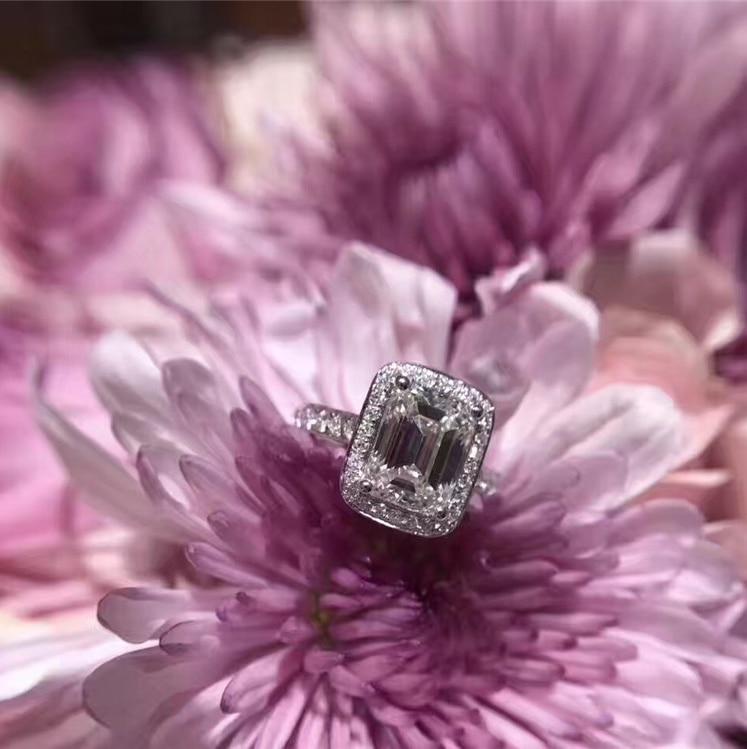 Top qualité 925 en argent Sterling blanc argent couleur CZ cubique zircone anneau Bague mode cubique zircone bijoux pour femmes SZ 6-8