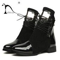 36-43 النساء أحذية جلد طبيعي شقة مارتن أحذية النساء الكاحل الأحذية النسائية دراجة نارية الخريف شتاء براءات بوتاس