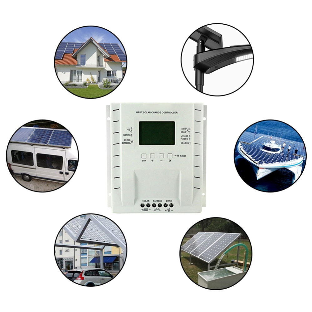 30/40A Solar Charger Controller Output 12V 24V LCD Solar Panel Regulator with Load Timer and Light Control for Lighting#29105230/40A Solar Charger Controller Output 12V 24V LCD Solar Panel Regulator with Load Timer and Light Control for Lighting#291052