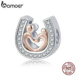 BAMOER Love Heart 925 Sterling Silver Horseshoe Heart Love Clear CZ Beads Charms Fit Bracelets Necklaces DIY Jewelry SCC916