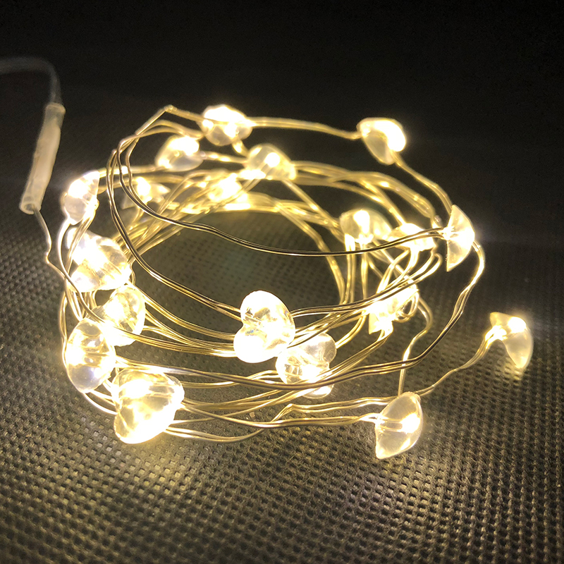 Clear Heart fairy light string - 78.74 Length 20 LEDs xmas decoR led copper string party lighting chain 2AA battery operated