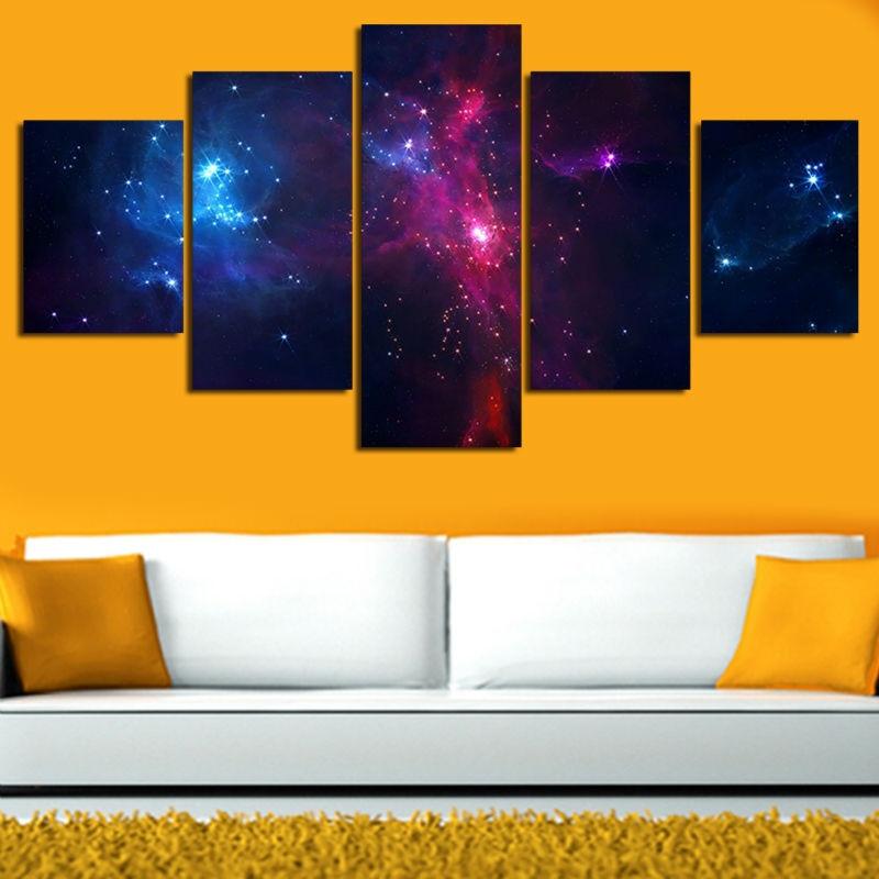 5 panel HD printed oil painting Planet Moon Sky canvas print art ...