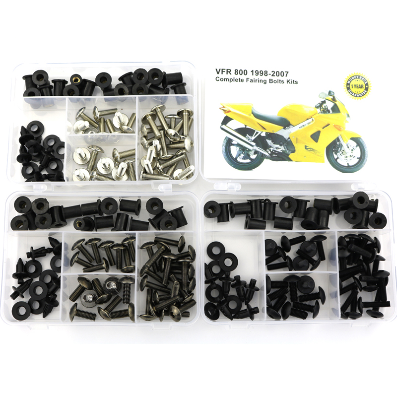 For Honda VFR800 1998-2007 Motorcycle Complete Full Fairing Bolts Kit Bodywork Screws Nut Side Covering Screws Bolts Steel