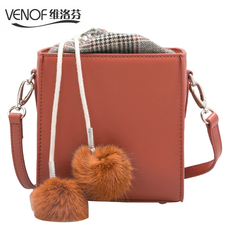 VENOF mini bucket bags for women split leather crossbody bags Rabbit hair ball ladies small shoulder messenger bags bolso mujer rabbit print split top