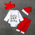 2016 Christmas Newborn Baby Boy Girl Clothes Santa Baby Cotton Romper Pant Headwear Hat 4PCS Children Set H349