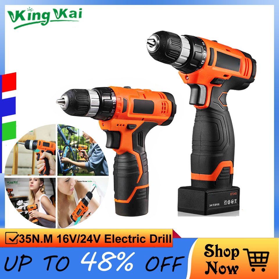 12V <font><b>16V</b></font> 24V Cordless Rechargeable Lithium <font><b>Battery</b></font> Multifunctional ScrewDriver Electric Drill image