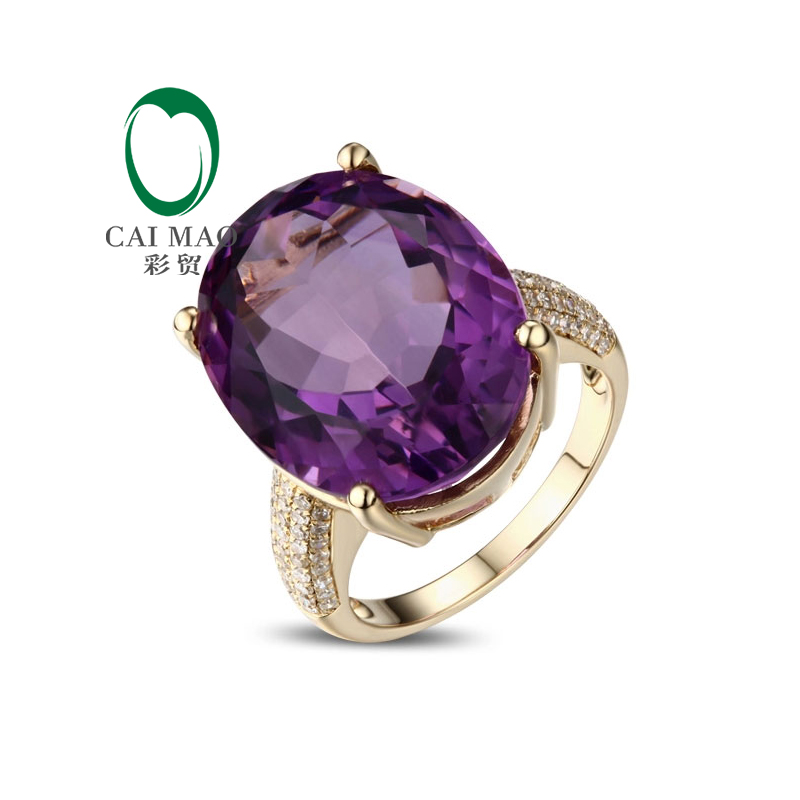 Caimao 14ct Yellow Gold Natural Diamond & 18.05ct Amethyst Engagement Wedding Ring Jewellery caimao jewelry natural red ruby with pearl and diamond engagement 14ct yellow gold pendant