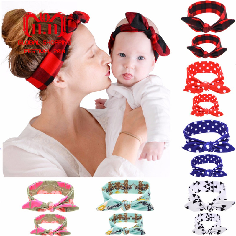 Puseky 2Pc/Set Mother Baby Turban Mom And Me Matching Headband Mom Daughter Rabbit Ears Headbands Floral Print Hair Accessories 2016 spring shoes a flat with nurse shoes the leisure trend of korean flat shoes