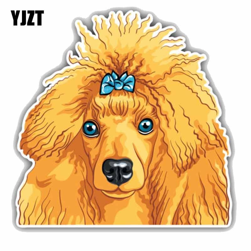 YJZT 15CMx15CM Poodle Dog Head Car Bumper Window Decoration Fashion Car Sticker C1-9054